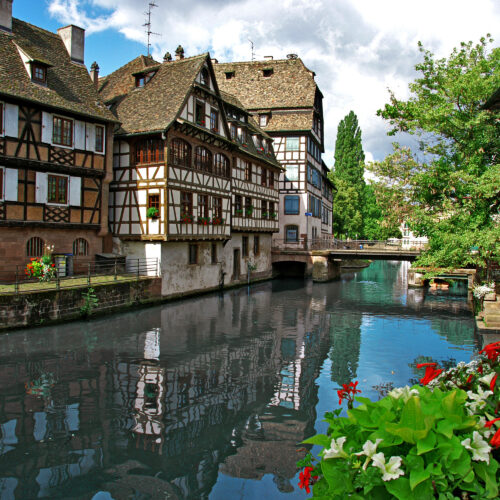 Village and canal in Strasbourg, France